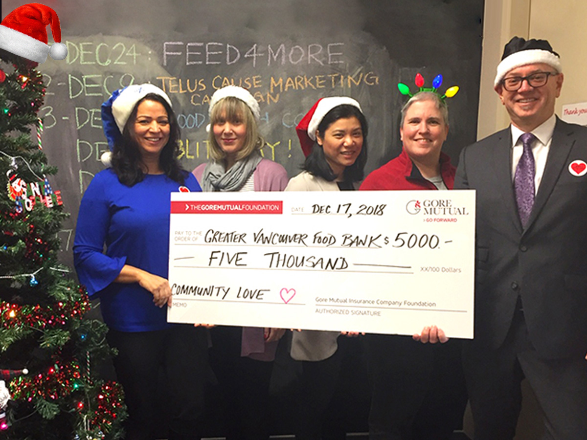 Gore Mutual image of check Celebrating the Holidays by Giving $40,000 to Canadian Food Banks